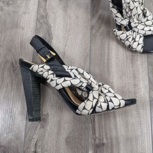 LAMB  Stacked Heel Leather Sandal Size 7M